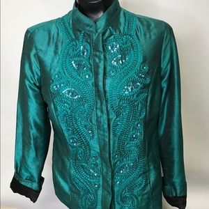 Chico's emerald green Asian style jacket